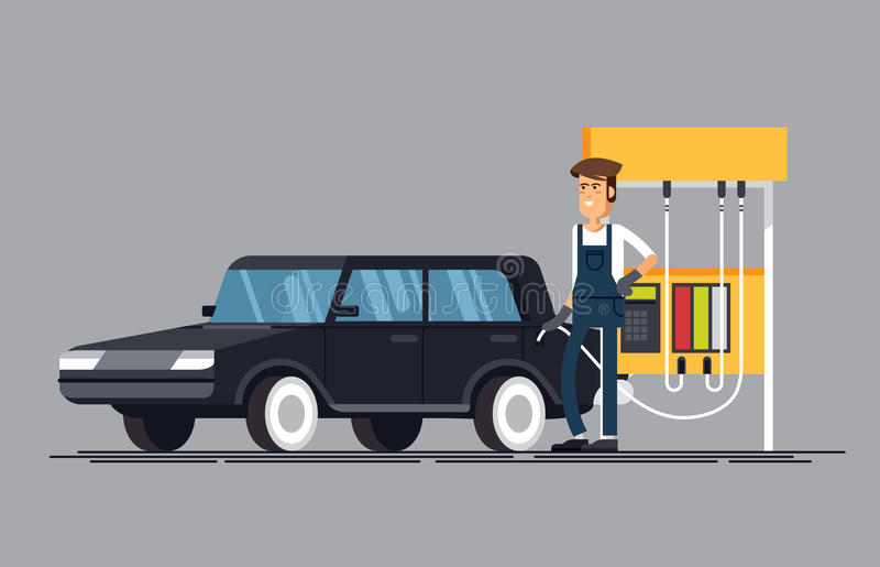 samochodowej karmy benzynowa stacja twój Pracownika plombowanie wypełnia benzynę w samochód ilustracji