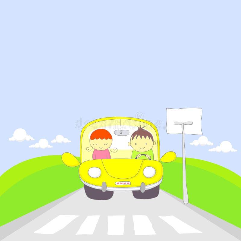 samochodowej kreskówki pary śliczny target878_0_ ilustracja wektor