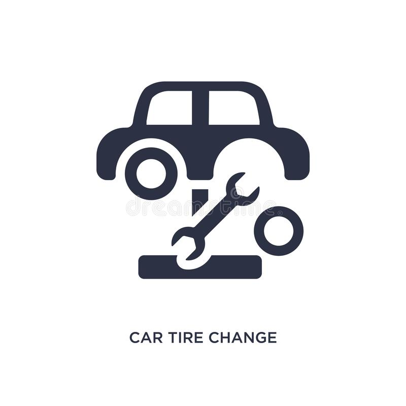 samochodowej opony zmiany ikona na białym tle Prosta element ilustracja od mechanicons pojęcia ilustracja wektor