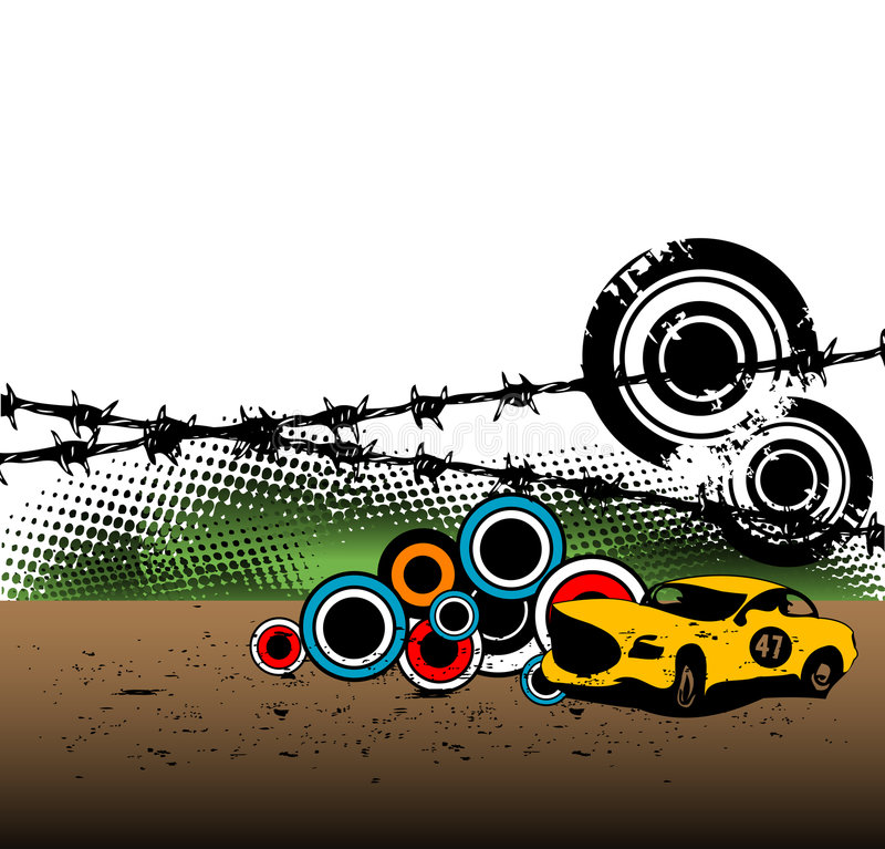 samochodowej rasy kolor żółty ilustracji