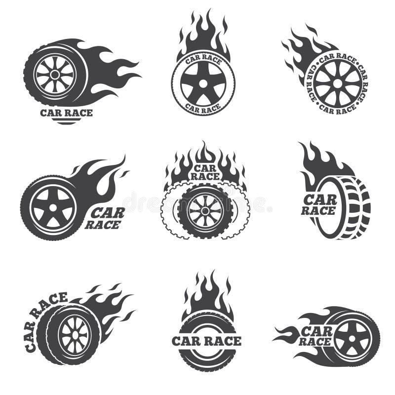 Samochodowej rasy loga set Koło z pożarniczym płomieniem ilustracja wektor