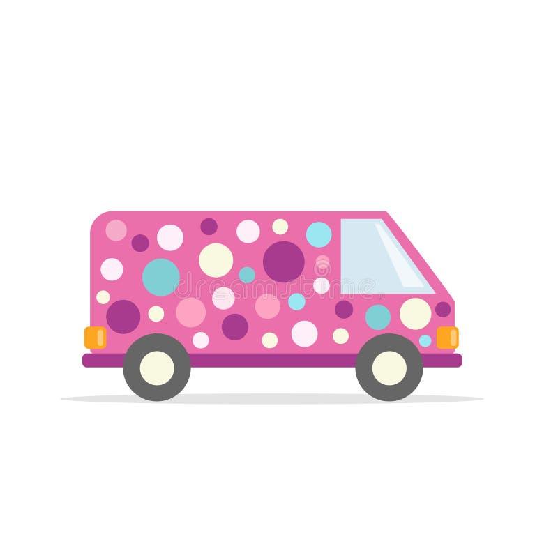 Samochodowi błazeny Partyjny samochód dostawczy Pojazdy w jaskrawych kolorach Mieszkanie styl jest może projektant wektor evgeniy royalty ilustracja