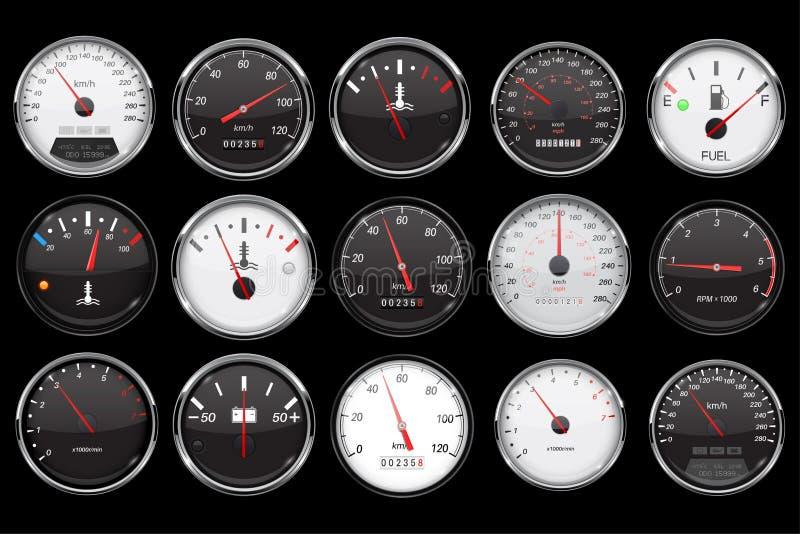 samochodowi deska rozdzielcza wymierniki Kolekcja prędkość, paliwo, temperaturowi przyrząda na czarnym tle ilustracji