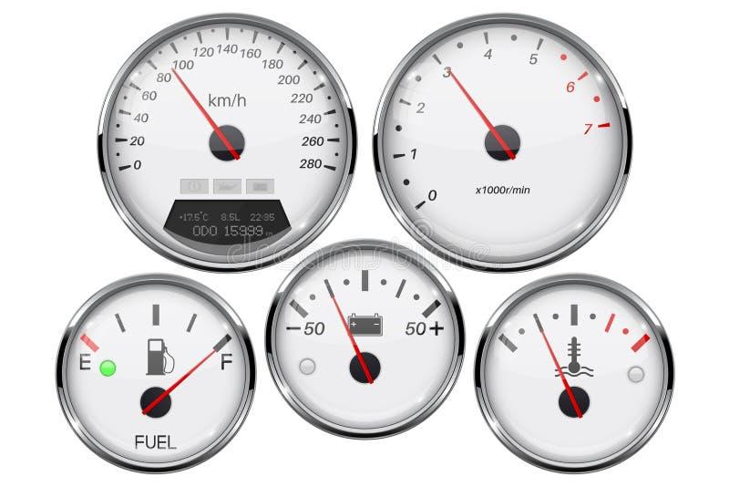 Samochodowi deski rozdzielczej 3d wymierniki Szybkościomierz, tachometr, paliwowy wymiernik, temperatura i accumulator, ładujemy  ilustracja wektor