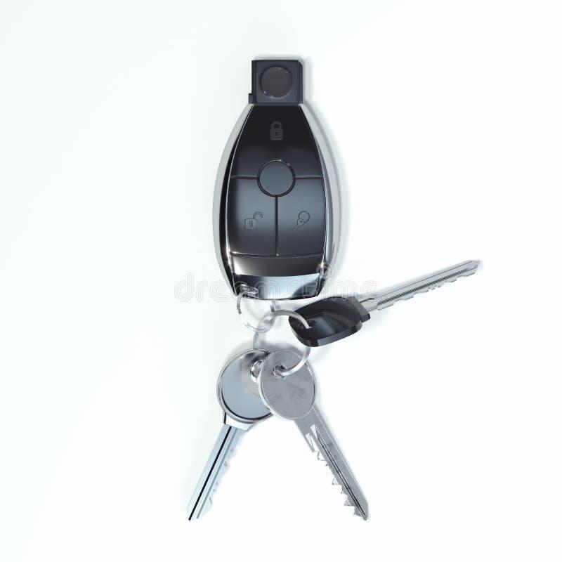 Samochodowi klucze zamykają w górę odosobnionego na białym tle świadczenia 3 d ilustracja wektor