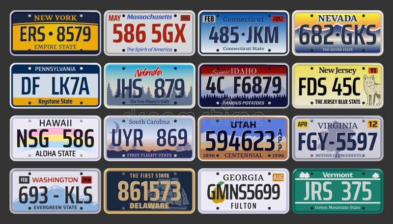 Samochodowi numery rejestracyjni i tablicy rejestracyjne w usa royalty ilustracja