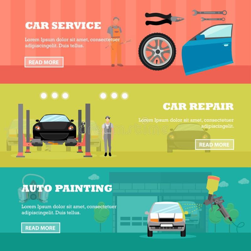 Samochodowi remontowego sklepu pojęcia wektoru sztandary Auto mechanik z wyposażeniem i narzędziami Garaż usługa royalty ilustracja