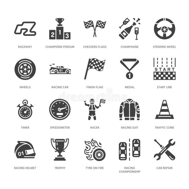 Samochodowy ścigać się glifu wektorowe płaskie ikony Prędkości mistrzostwa auto znaki - ślad, samochód, setkarz, hełm, w kratkę f ilustracji