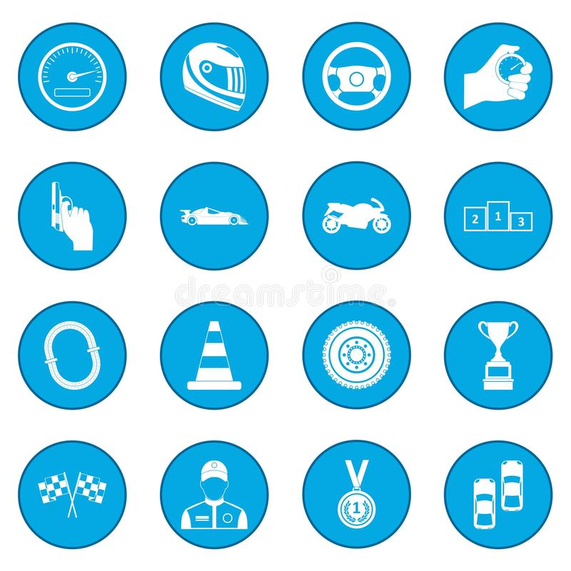 Samochodowy ścigać się ikony błękit ilustracja wektor