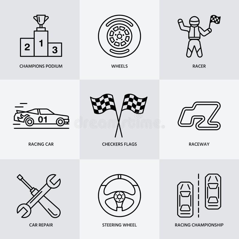 Samochodowy ścigać się wektoru linii ikony Prędkości mistrzostwa auto znaki - ślad, samochód, setkarz, hełm, warcaby zaznacza, st ilustracja wektor