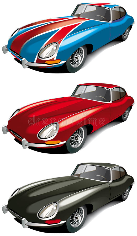 samochodowy angielski retro ustalony sport ilustracji