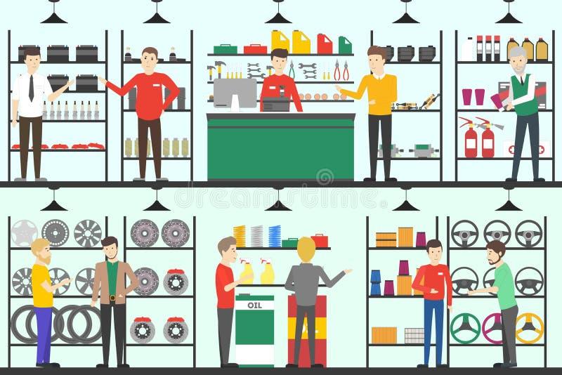 Samochodowy część sklep ilustracji