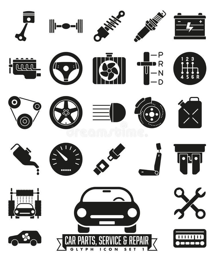 Samochodowy części, usługa i naprawy glifu ikony set, ilustracji