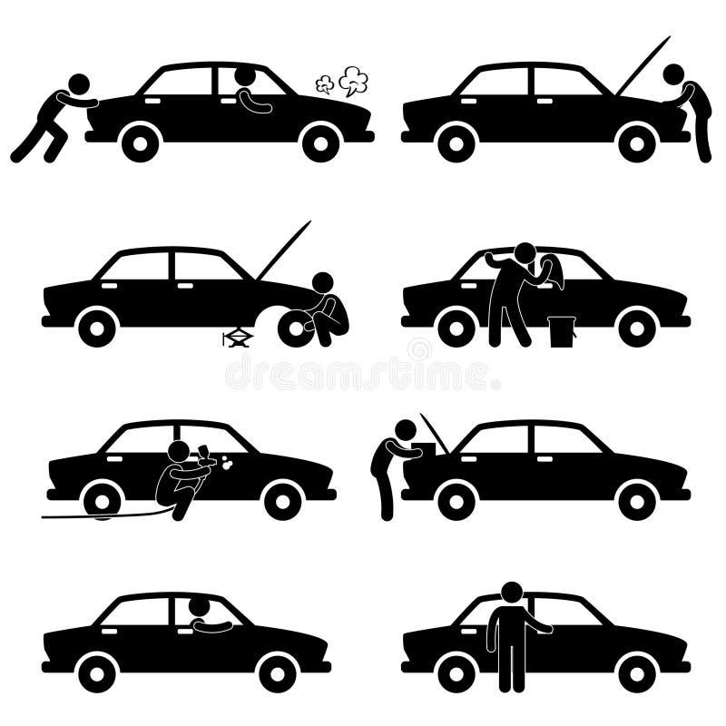 samochodowy czek dylemata piktograma naprawy opony obmycie ilustracja wektor