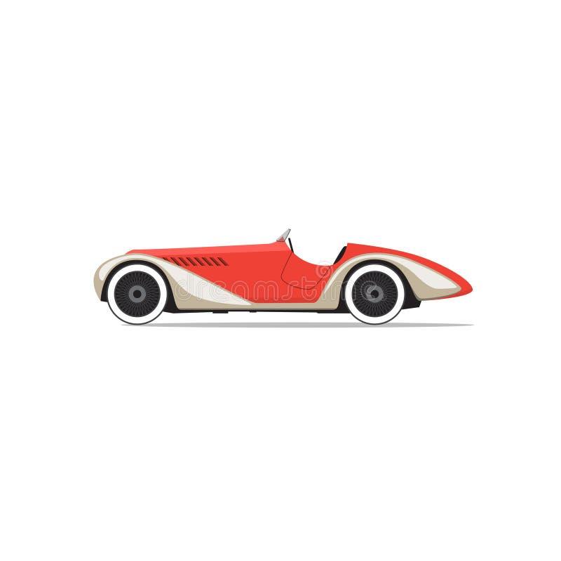samochodowy czerwony retro wektor Boczny widok ilustracja wektor