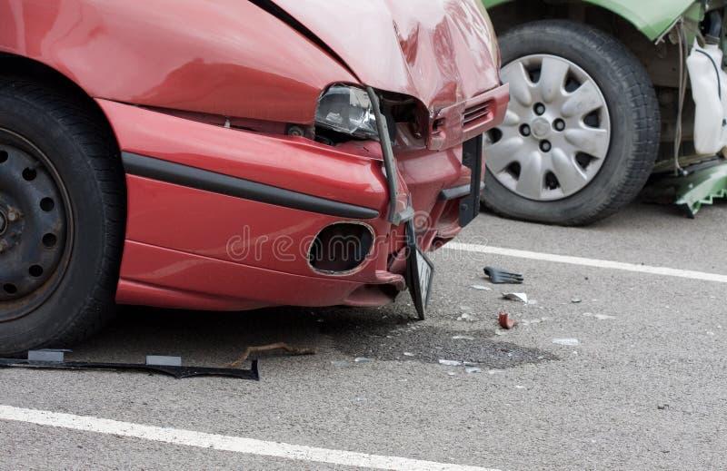 samochodowy czerwony wrak zdjęcie royalty free