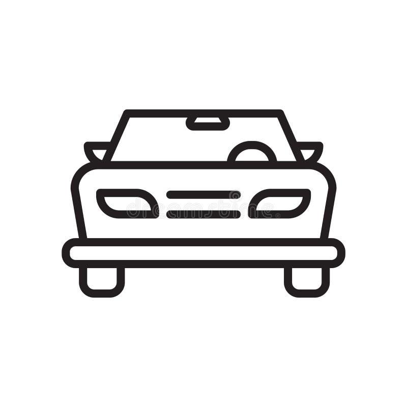 Samochodowy czołowy widok ikony wektoru znak i symbol odizolowywający na białym tle, Samochodowy czołowy widoku logo pojęcie ilustracji
