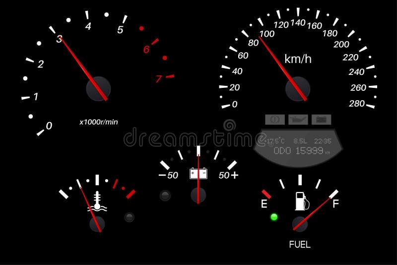 Samochodowy deski rozdzielczej czerń waży Paliwowy wymiernik, szybkościomierz, tachometr, temperaturowy wskaźnik ilustracja wektor