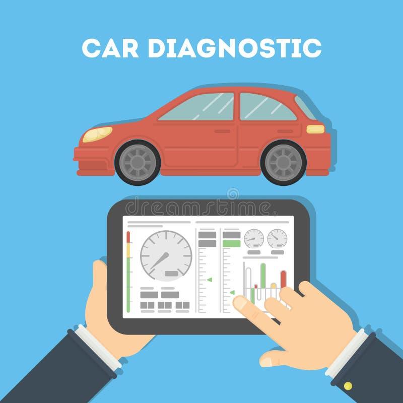 Samochodowy diagnostyk z pastylką ilustracja wektor