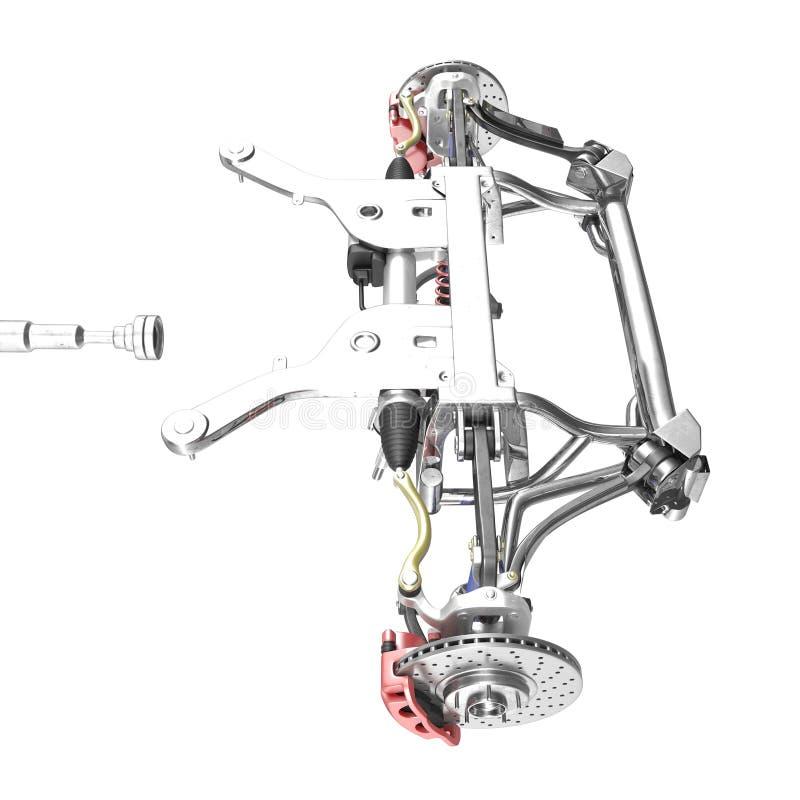 Samochodowy dyska hamulec z czerwonym caliper i frontowy zawieszenie na bielu, ilustracja 3 d ilustracji