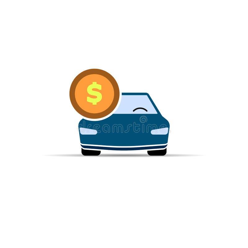 samochodowy eps10 ikony ilustraci wektor Pieniądze monety znak wektorowy płaski koloru symbol na białym tle EPS10 ilustracja wektor