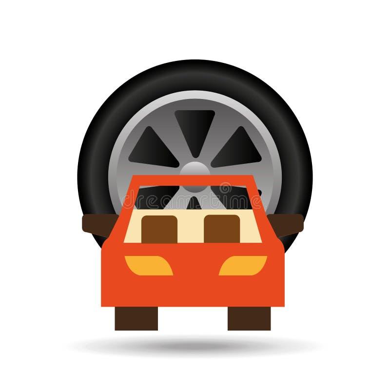 Samochodowy frontowego koła ikony projekt royalty ilustracja