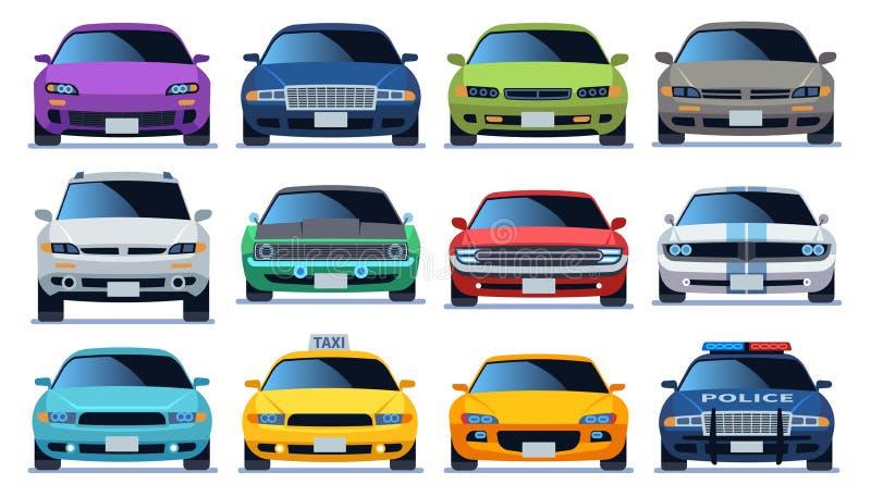 Samochodowy frontowego widoku set Miastowego miasto ruchu drogowego pojazdu wzorcowi samochody Policja i taxy koloru postu auto r royalty ilustracja