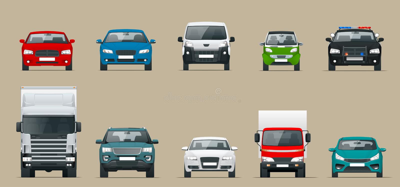 Samochodowy frontowego widoku set Pojazdu jeżdżenie w mieście Wektorowa mieszkanie stylu kreskówki ilustracja odizolowywająca na  royalty ilustracja