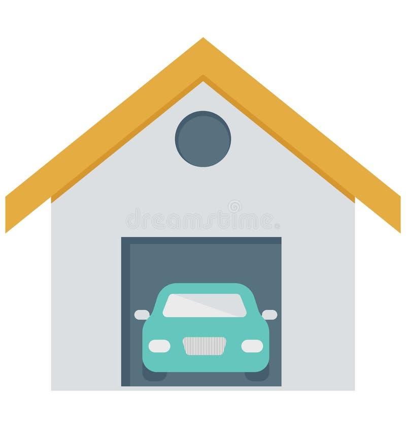 Samochodowy garaż, garaż Usługowe Odosobnione Wektorowe ikony może być modyfikuje z jakaś stylem royalty ilustracja
