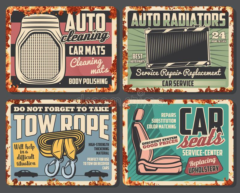 Samochodowy grzejnik, auto siedzenie, holownicza arkana i maty, ilustracji