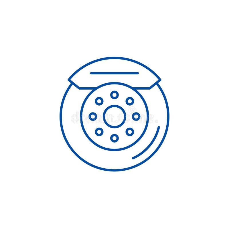 Samochodowy hamulcowych ochraniaczów ikony kreskowy pojęcie Samochodowy hamulcowych ochraniaczów płaski wektorowy symbol, znak, k royalty ilustracja