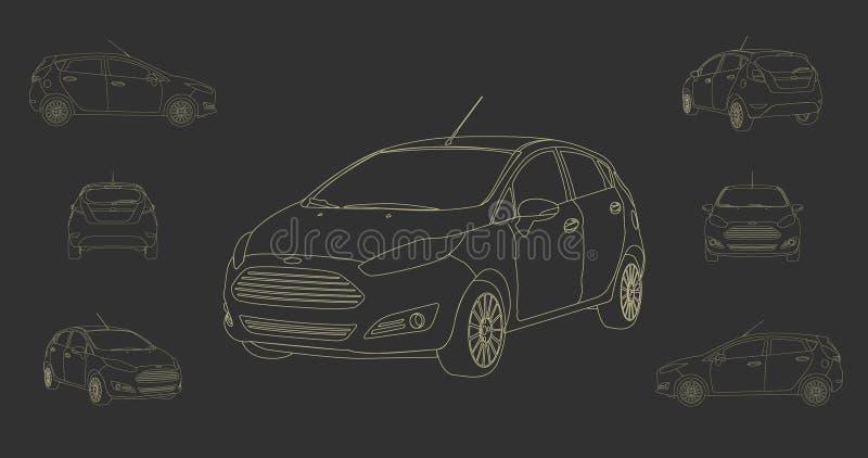 Samochodowy Hatchback wektor Linearny ilustracji
