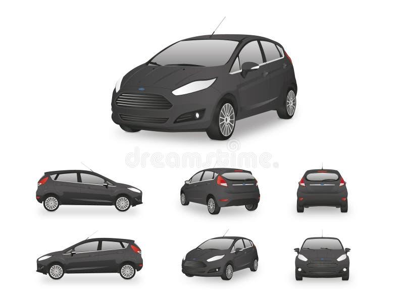 Samochodowy Hatchback wektoru czerń ilustracja wektor