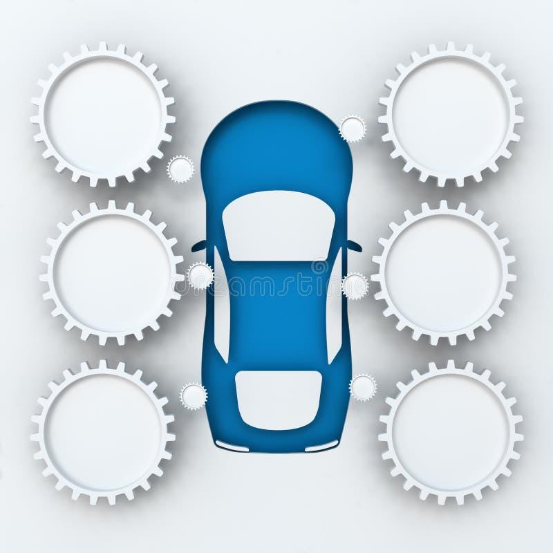 Samochodowy infographics z copyspace, 3d odpłaca się ilustracja wektor
