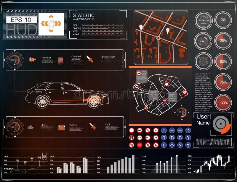 Samochodowy interfejs użytkownika Mapa HUD UI Abstrakcjonistyczny wirtualny graficzny dotyka interfejs użytkownika Samochód ikona royalty ilustracja