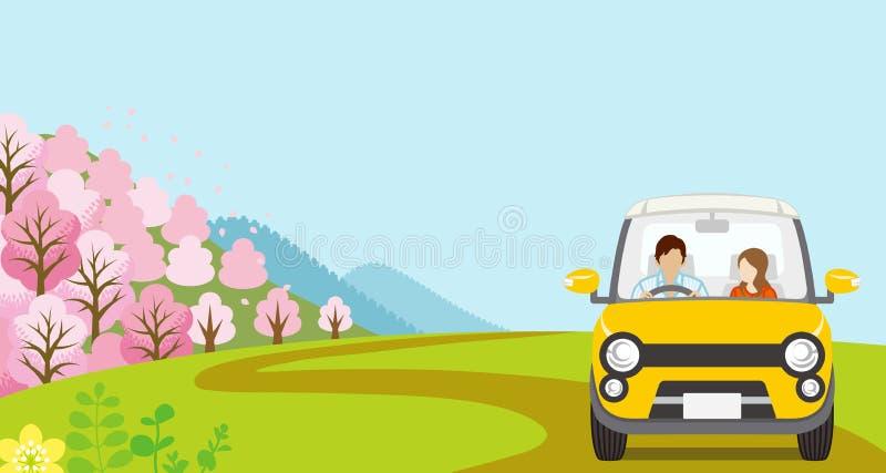 Samochodowy jeżdżenie w wiosny naturze, potomstwa Dobiera się, anonimowość - Frontowy widok royalty ilustracja
