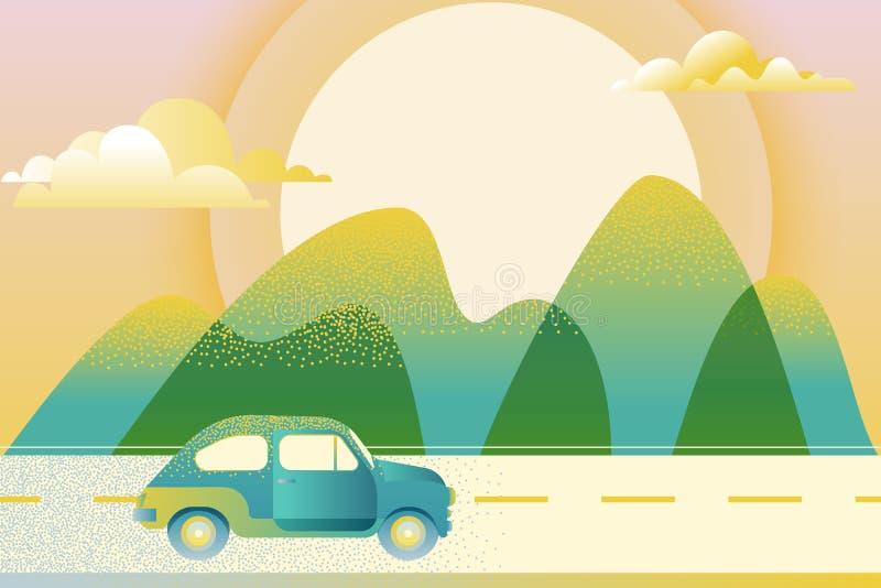 Samochodowy jeżdżenie wzdłuż halnej drogi, ilustracja Samochód podróż, wycieczki pojęcie Plenerowa turystyka i podróż royalty ilustracja