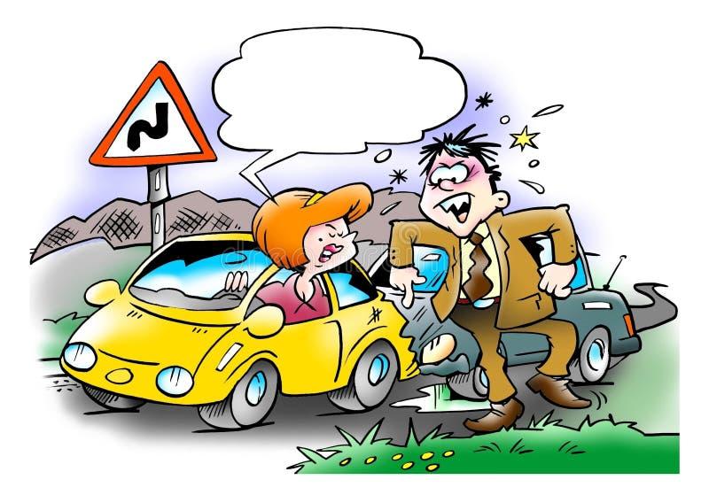 Samochodowy karambol między dwa kierowcami royalty ilustracja