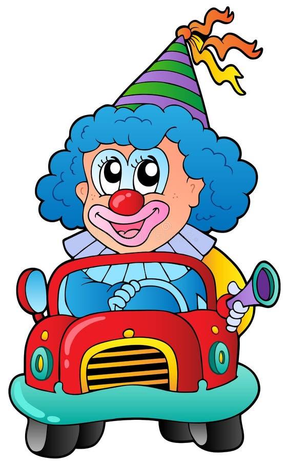 samochodowy kreskówki błazenu jeżdżenie royalty ilustracja