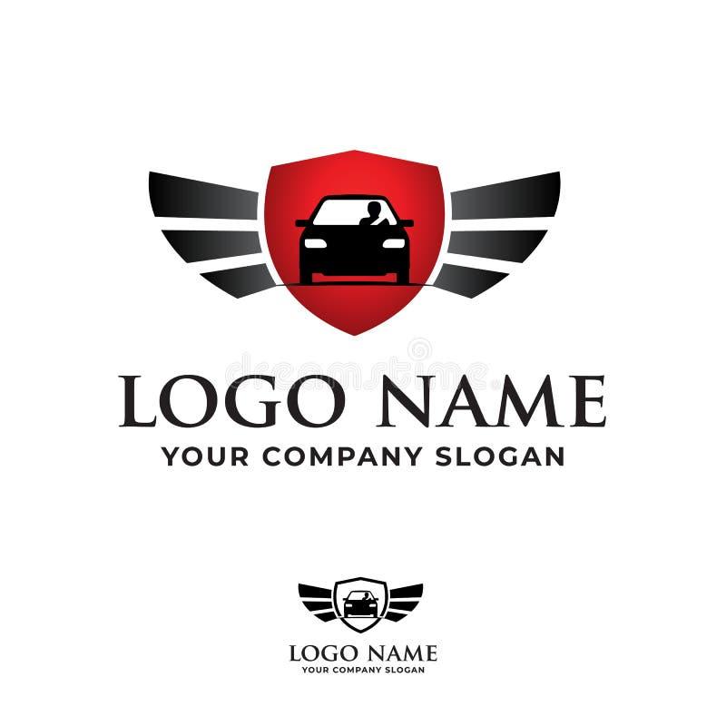 Samochodowy logo z kierowcą, osłona, uskrzydla wektor ilustracji