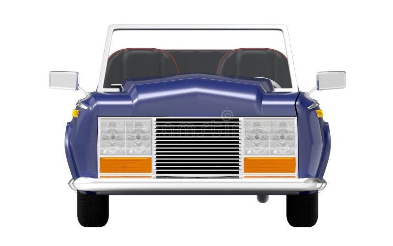 Samochodowy luksusowy kabrioletu zmrok - błękita przód ilustracji