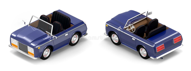 Samochodowy luksusowy kabrioletu zmrok - błękitny isometric royalty ilustracja
