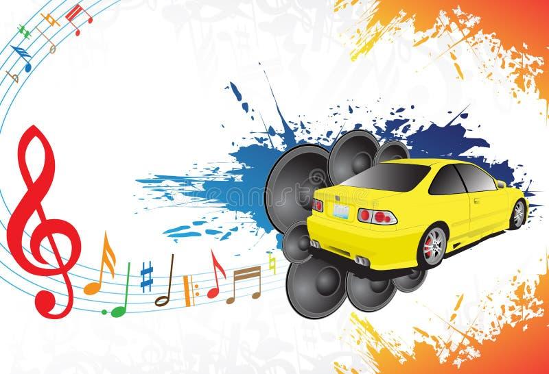 samochodowy muzyczny kolor żółty ilustracja wektor