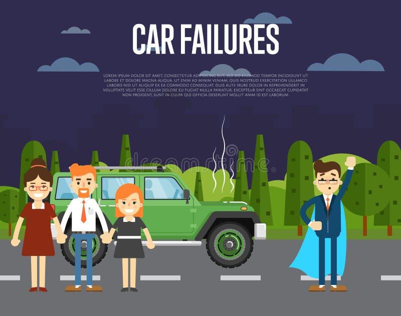 Samochodowy niepowodzenia pojęcie z ludźmi pobliskiego łamającego samochodu ilustracji