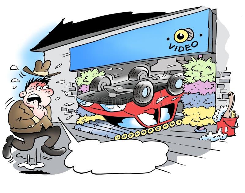 Samochodowy obmycie który iść zły źle ilustracji