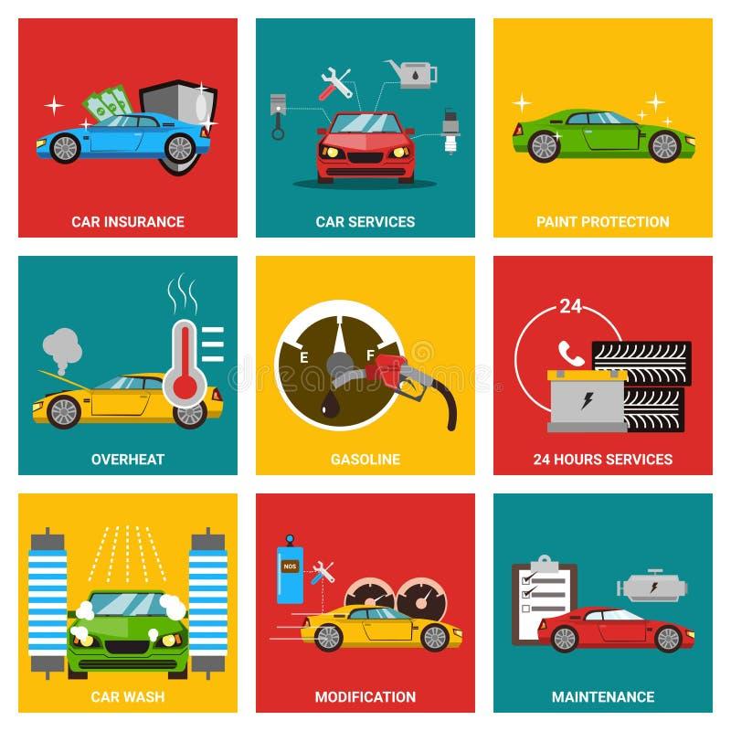 Samochodowy płaski projekt ikony set ilustracji