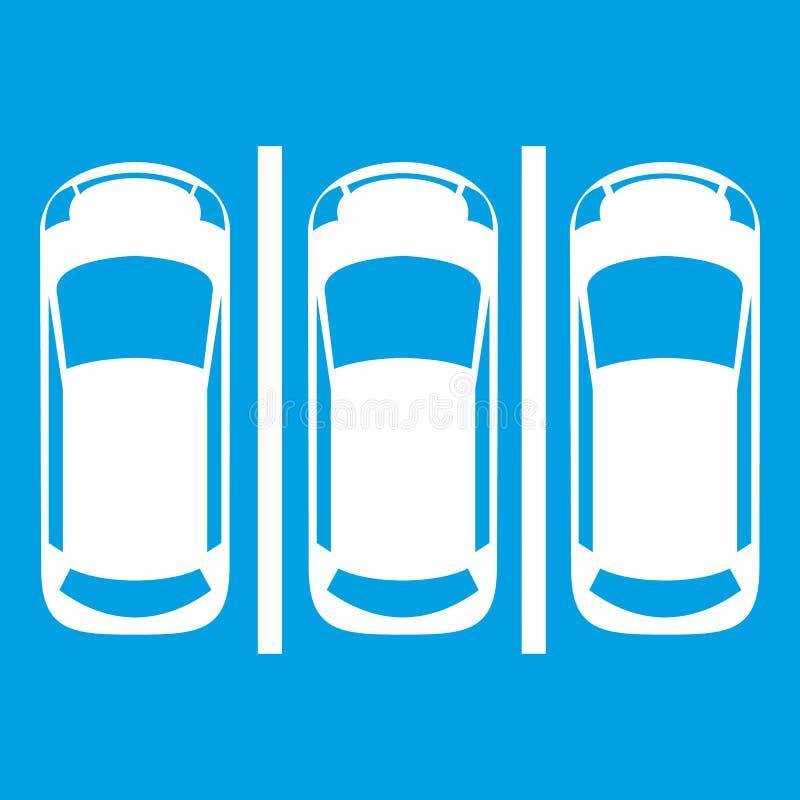 Samochodowy parking ikony biel royalty ilustracja