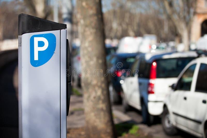 Samochodowy parking metr Metered Rzym, Włochy obraz royalty free