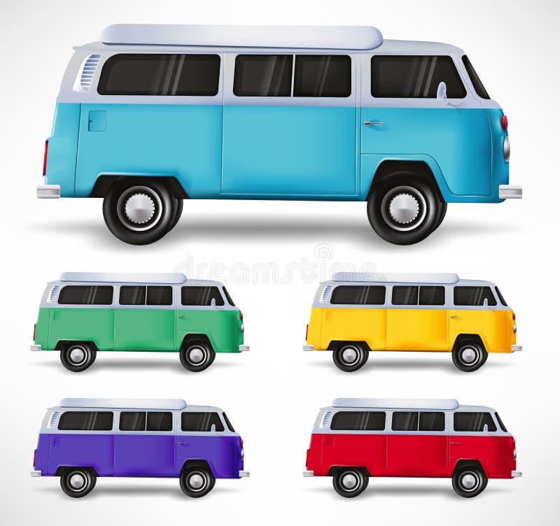 Samochodowy Pojazdu Podr??ny Van R??ny kolor Ustalony 3D Realistyczny w Odosobnionym Bia?ym tle ilustracji