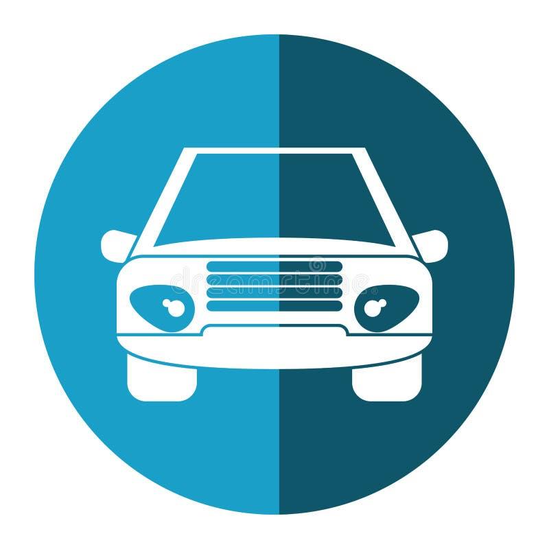 Samochodowy pojazdu transportu frontowego widoku błękitny okrąg ilustracji